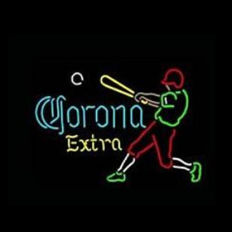 Corona-علامة نيون لمشغل البيسبول ، أنبوب زجاجي حقيقي مخصص يدويًا ، بار ، فندق KTV ، متجر ، شاشة حفلات ، لافتات نيون 17 بوصة × 14 بوصة