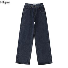 Nbpm New 2021 Fashion Washed Asymmetrical Design Denim Trousers Wide Leg Jeans Woman High Waist Bagg