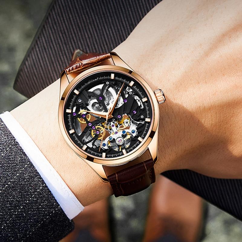 Ailang 2021 sports automatic watch men's hollow mechanical watch waterproof luminous hollow new business watch