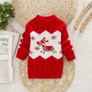 2020 Baby Girls Sweater Winter Autumn Blouses Children Knitted Sweater Girls Pullover Sweatshirt 1-4T Kids Christmas Sweater