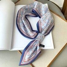 Bandana de impressão feminina lenço de seda imitação cachecóis bandagem de cabelo envoltórios pescoço fitas lenço pescoço cachecol senhoras gravata acessório
