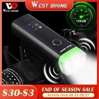 Передний велосипедный фонарь, светодиодный, водонепроницаемый, с зарядкой через USB, WEST BIKING