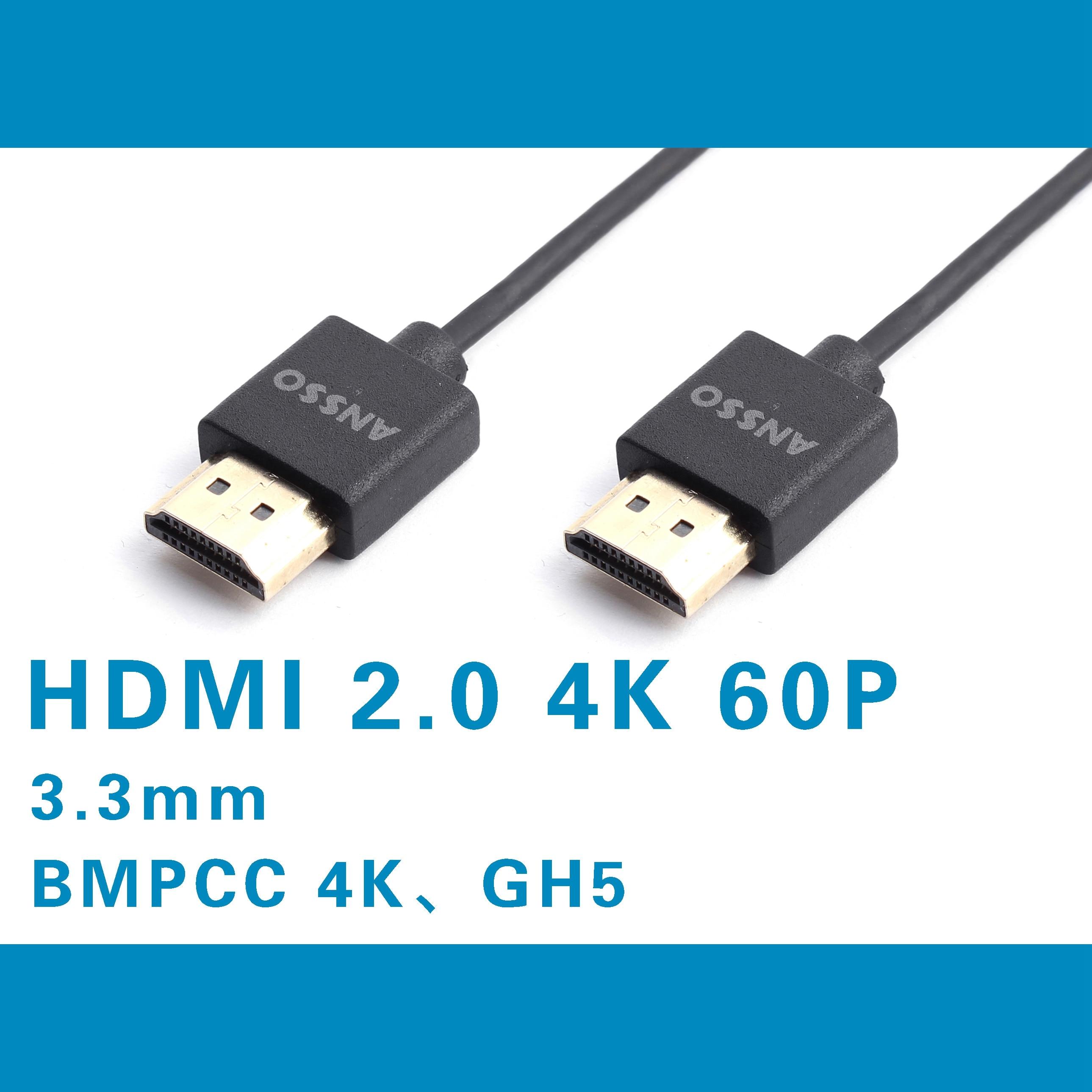 HDMI 2.0 vers HDMI 2.0 Super doux câble GH5 S S1H FS7 5 BMPCC 4K 60P Connexion moniteur enregistreur 18gbps; signal HDR Ultra Mince
