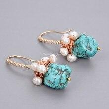 GG bijoux vert Turquoise blanc perle boucles doreilles en plaqué or jaune