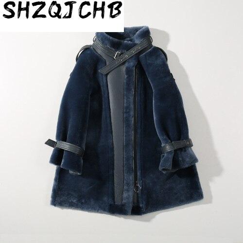 JCHB-abrigo de piel auténtica para Mujer, chaqueta de esquilar de oveja caliente,...