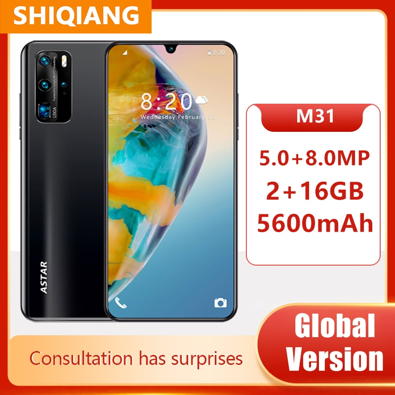 Global Version Android Smartphones M31 Mobile Phones 6.3Inch 2+16GB Face ID Unlocked 5MP+8MP Cell Phones 5600mAh Telephone