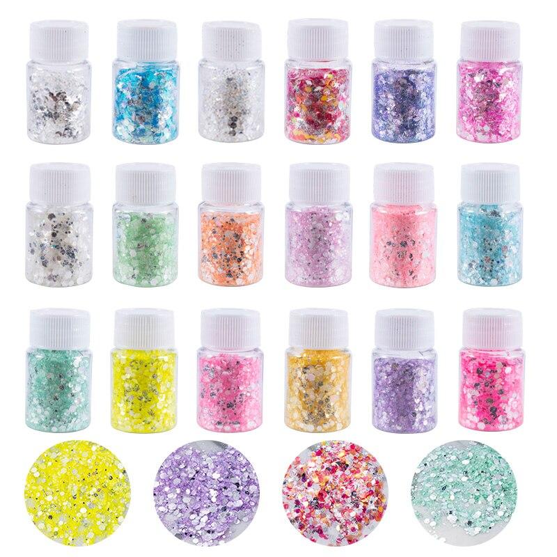Resin Glitter Chunky Glitter 18 Colors Glitter Holographic Glitter Cosmetic Glitter for Nails Lip Gloss for Resin Arts Craft