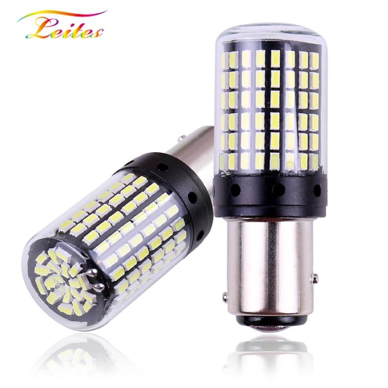 2pcs 1157 P21/5W BAY15D T20 7443 High Quality 3014 LED Auto Tail Brake Light Car DRL Driving Lamp Turn Signals Bulb Red White