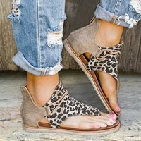 women flat sandals leopard snake print summer shoes large size andals beach leather sandals retro gladiator flip flops slippers