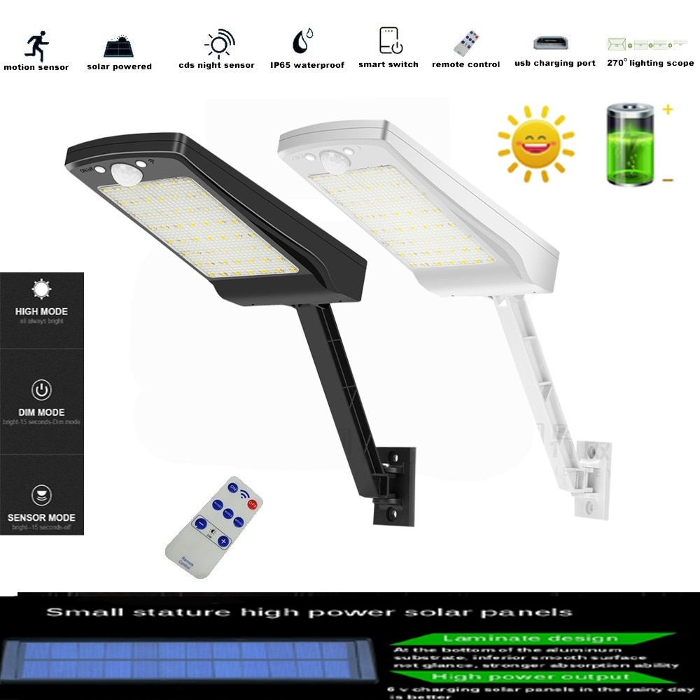 56 LED Solar Lights Outdoor with 2200mAh Battery, Wall Mount Auto Bright Solar Powered Porch Lights