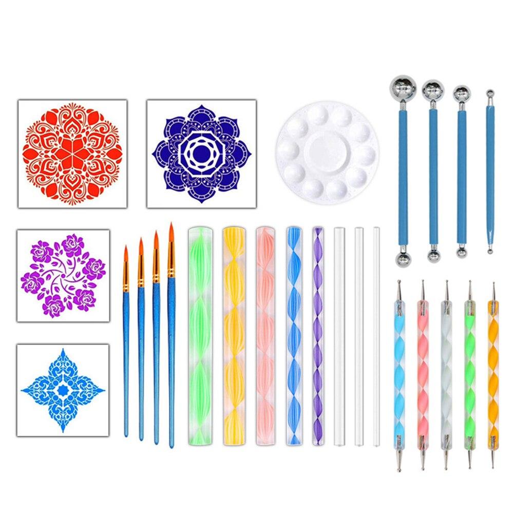 26 Pcs DIY Dotting Tools Set Pen Paint Tray Pottery Nail Art Kids Crafts Painting Drawing Canvas Mandala Stencil For Rocks