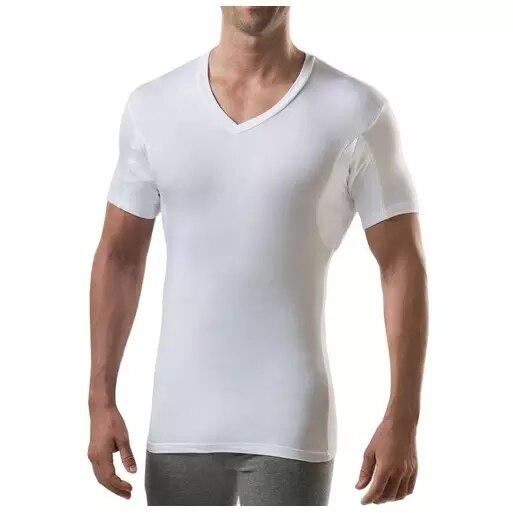Men cotton sweatproof anti sweat t shirt against underarm sweat proof  slim fit V neck t-shirt