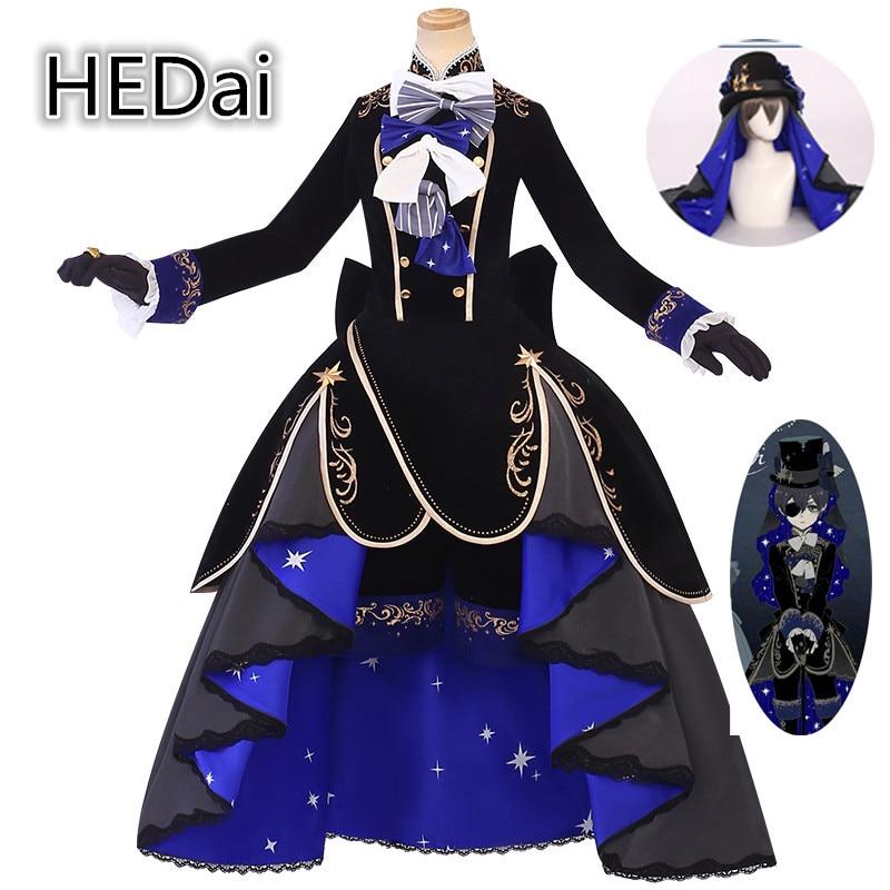 أسود بتلر Ciel Phantomhive 13th الذكرى تأثيري حلي فستان حفلة هالوين هدية وتتسابق امرأة أنيمي ازياء