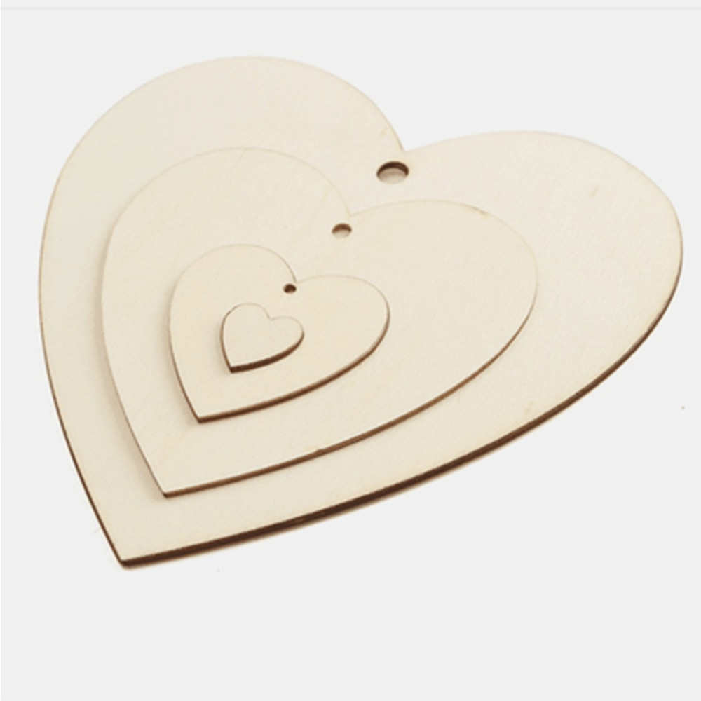 Varios tamaños de trozos de madera perforada amor parche álbum de recortes artesanal decoración de boda con suministros hecho a mano graffiti colgante