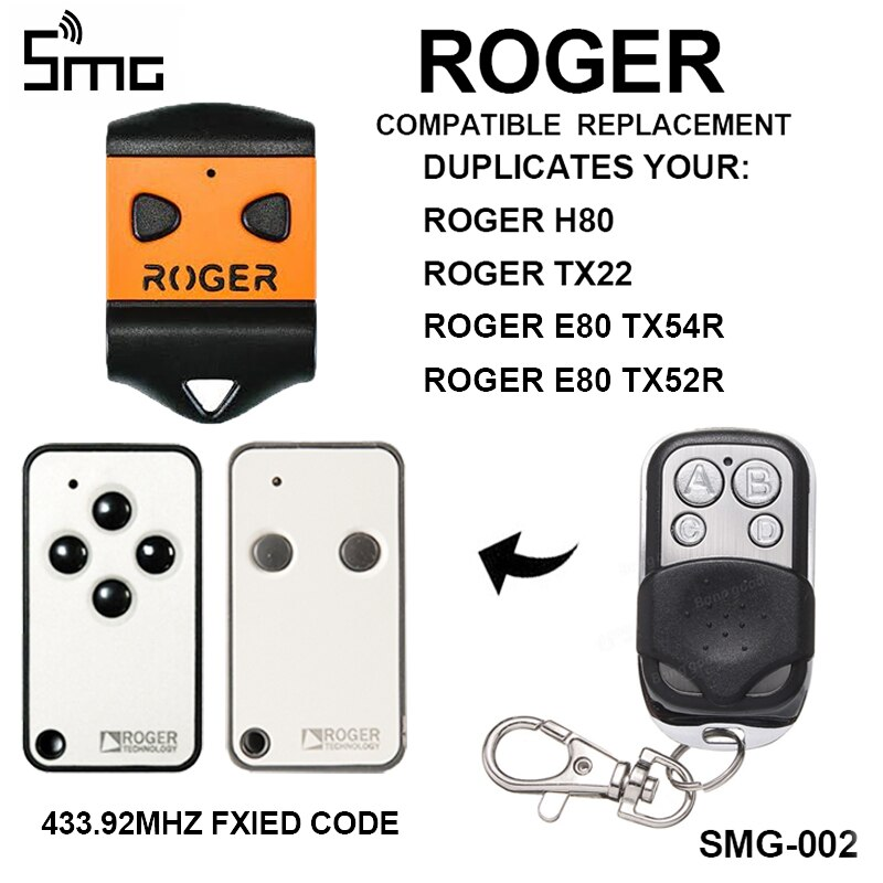 ROGER H80 E80 ROGER TX22, abridor de puerta de garaje, reemplazo de Control remoto, duplicador para mando de garaje, 433,92 mhz, llave fob
