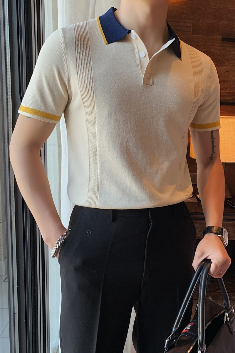 Summer Men Short Sleeve POLO Shirts Lapel Color Matching Slim Knitted POLO Shirts Fashion Business Casual Male Clothing M-4XL