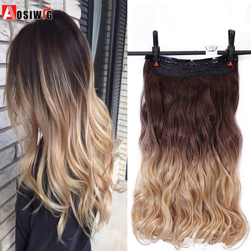 AOSIWIG 24 pulgadas 5 clips extensiones de cabello ondulado Clip sintético en la extensión del pelo negro rojo Ombre postizo resistente al calor