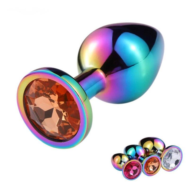 Товары для взрослых, анальные секс-игрушки, цветные анальные пробки, Металлические анальные пробки, товары для массажа простаты, секс-товар...