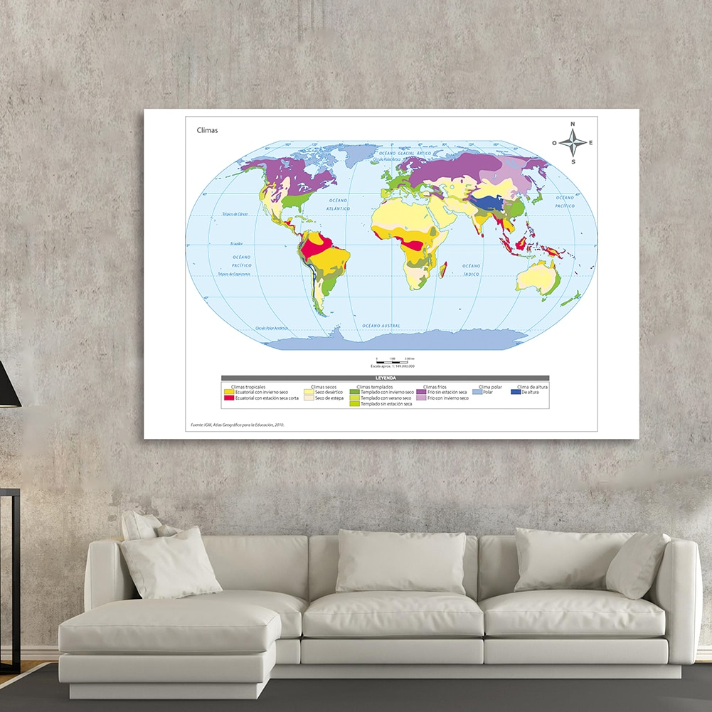 225*150cm In Spanish The World Climate Map Art Poster Non-woven Canvas Painting Living Room Home Decor Children School Supplies