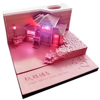 160 sheets notepad cubes 3d memo pad pink loving home creative sticky note cube holder bookmarks valentines day birthday gift