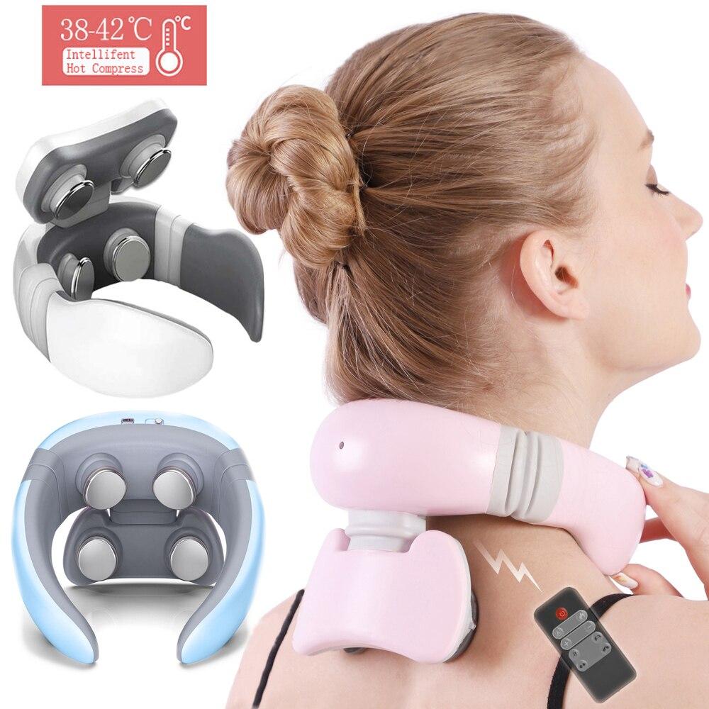Smart 4D 6 Modes Electric Neck Massager Pulse Back Power Control Far Infrared Massage Pain Relief Tool Health Care Nekmassage