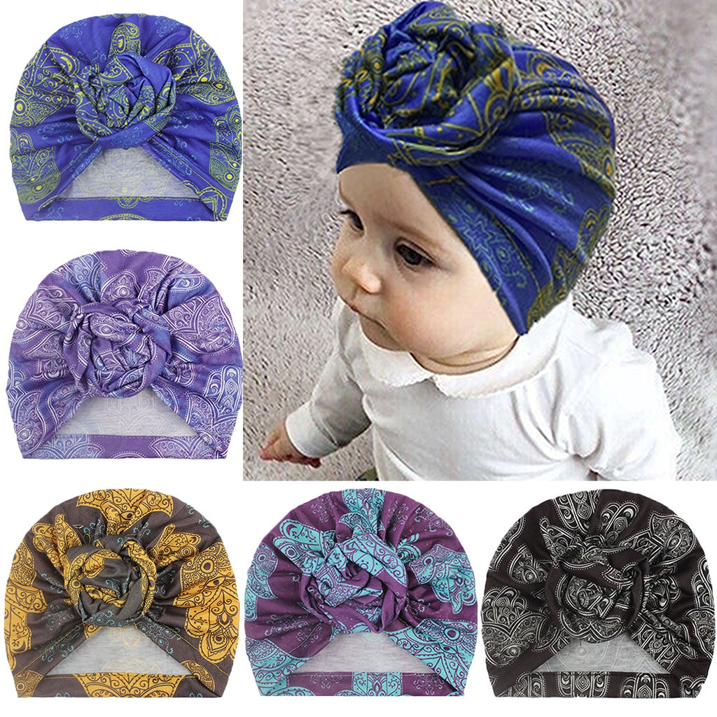 New Bohemia Retro Print Flower Kids Hats Round Ball Rose Knot Newborn Infant Toddler Hedging Caps Turban Baby Girls Headwear