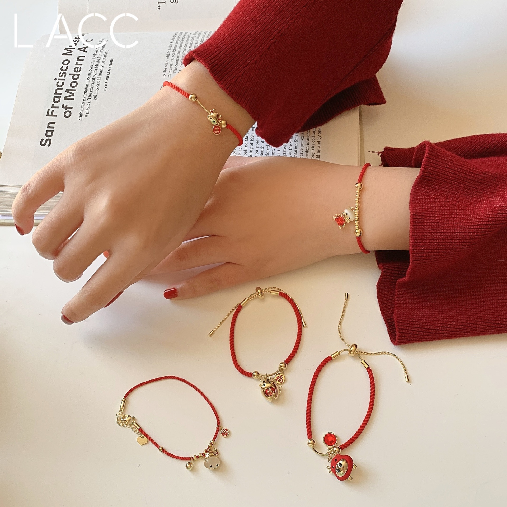 Korean Surrogate Shopping Birth Year Little Mouse Good Luck Red Rope Adjustable Rope Girlfriends' Br