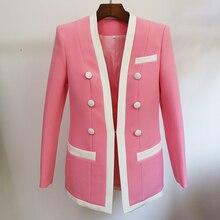 Excellente qualité 2020 plus récent veste de créateur femmes Double boutonnage couleur bloc Blazer