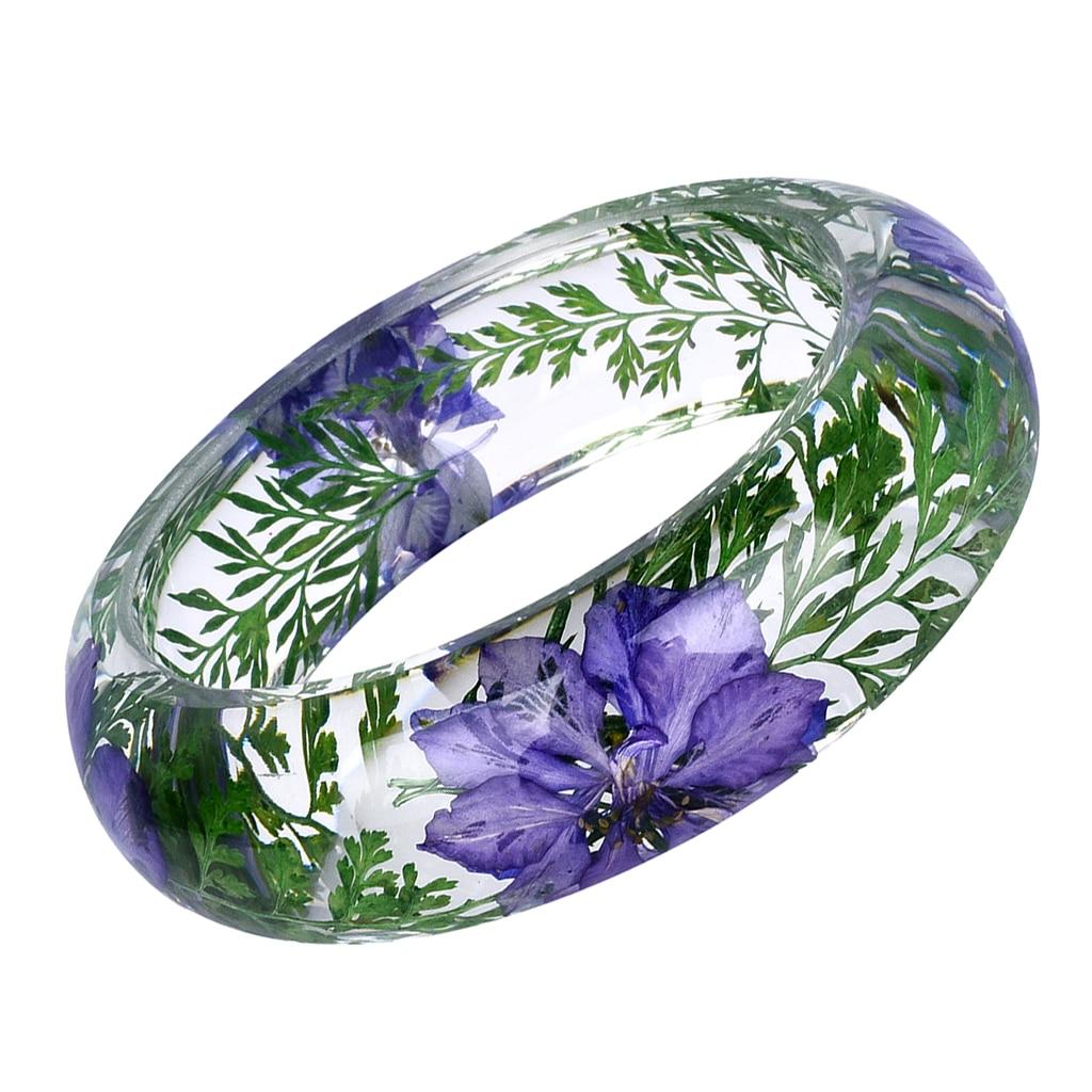 Brazalete de plástico transparente Vintage con flores secas