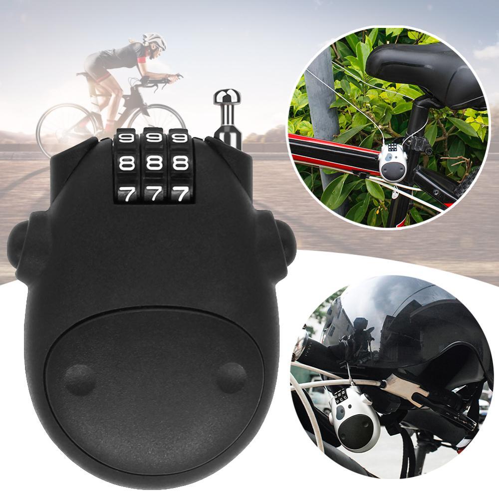 Trava universal de senha para capacete de motocicleta, corda de aço telescópica com código para malas, trava l1