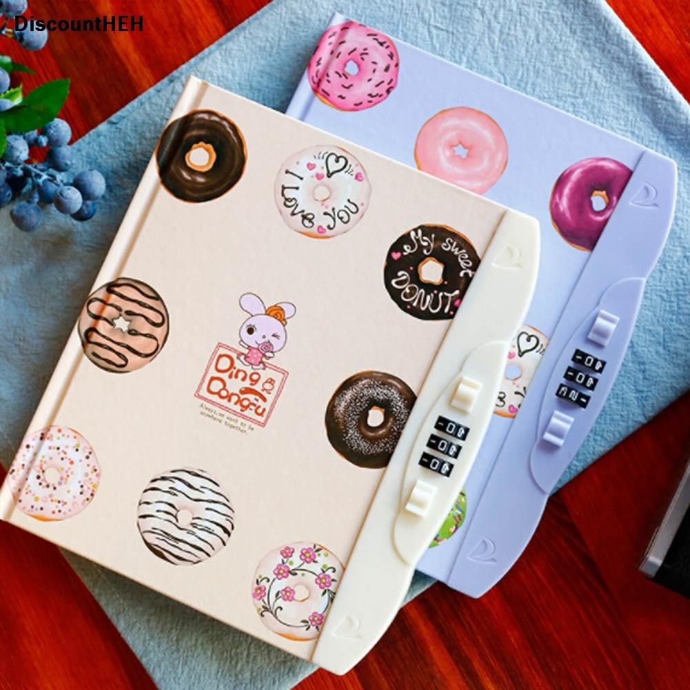 Hot Sake Kawaii niños creativo copia dura libro contraseña cuaderno diario estudiante con bloqueo cuaderno Color aleatorio