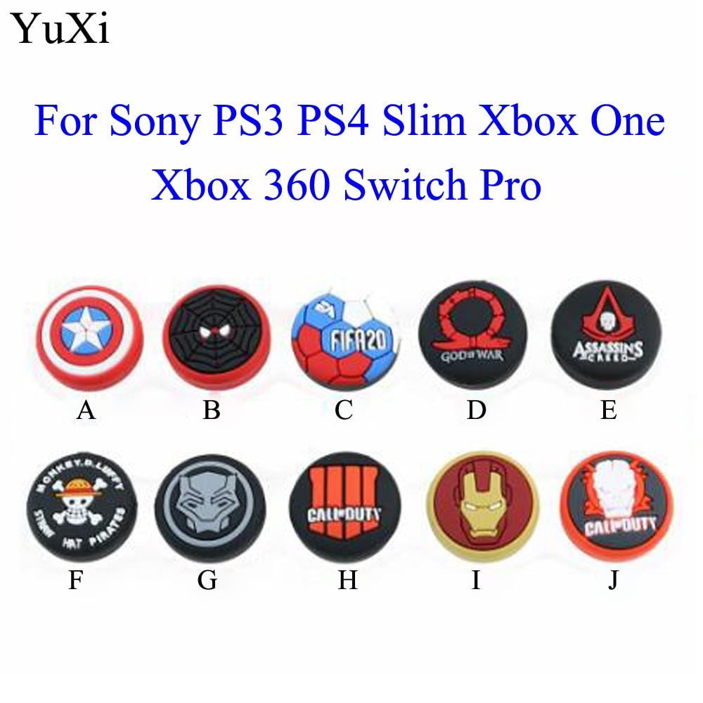 Los Vengadores guardia pulgar Stick agarre gorra pulgar Joystick funda para Sony PS3 PS4 Slim Xbox 360 interruptor controlador Pro