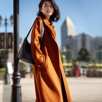 super long new and neat hand sewed double sided water ripple wool coat female