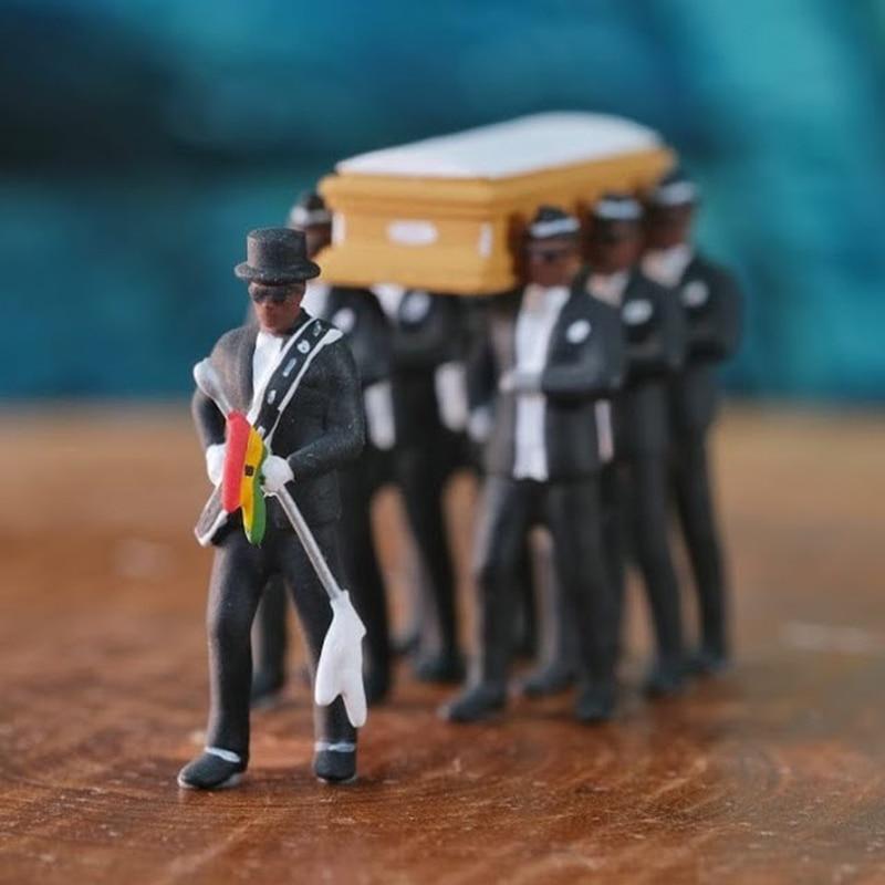 2020 Hot Set Blacks Carry The Coffin Team Figure 10cm Blacks man Carry The Coffin action figure toys Christmas gift