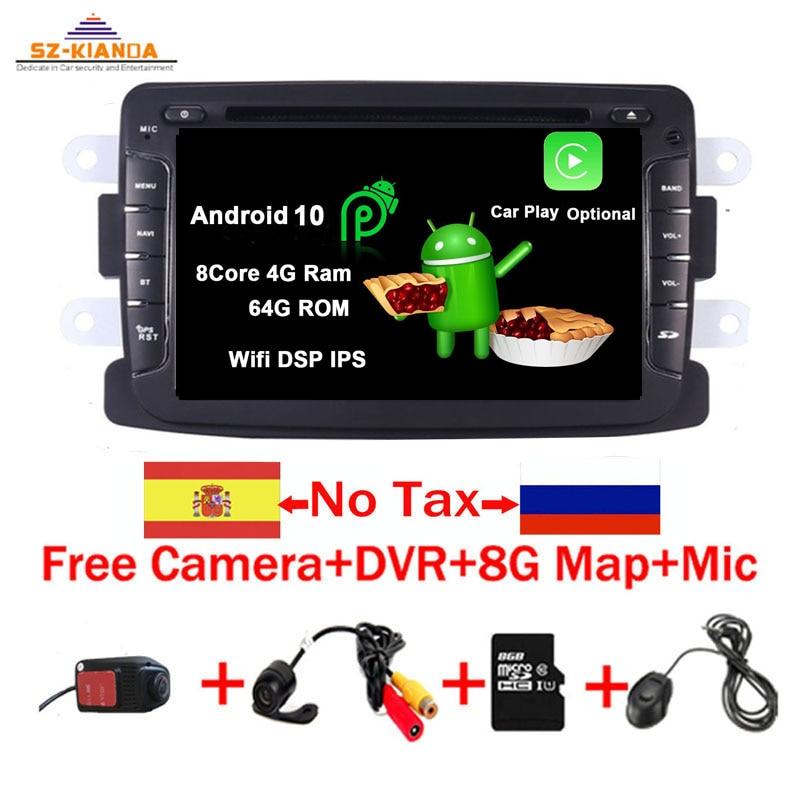 2din Android 10,0 reproductor de DVD del coche para protector antipolvo para Renault Dacia Sandero captura Lada Xray 2 Logan 2 RAM 3G WIFI GPS navegación Radio