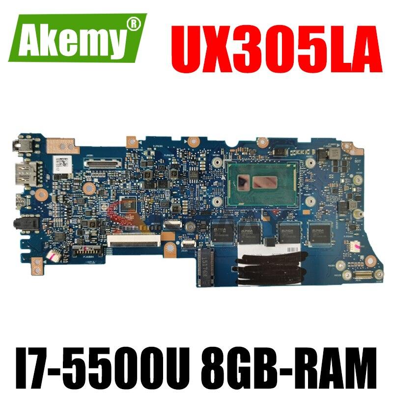 Akemy UX305LA اللوحة الأم للكمبيوتر المحمول ASUS ZenBook UX305LA UX305L اللوحة الرئيسية الأصلية 8GB-RAM I7-5500U