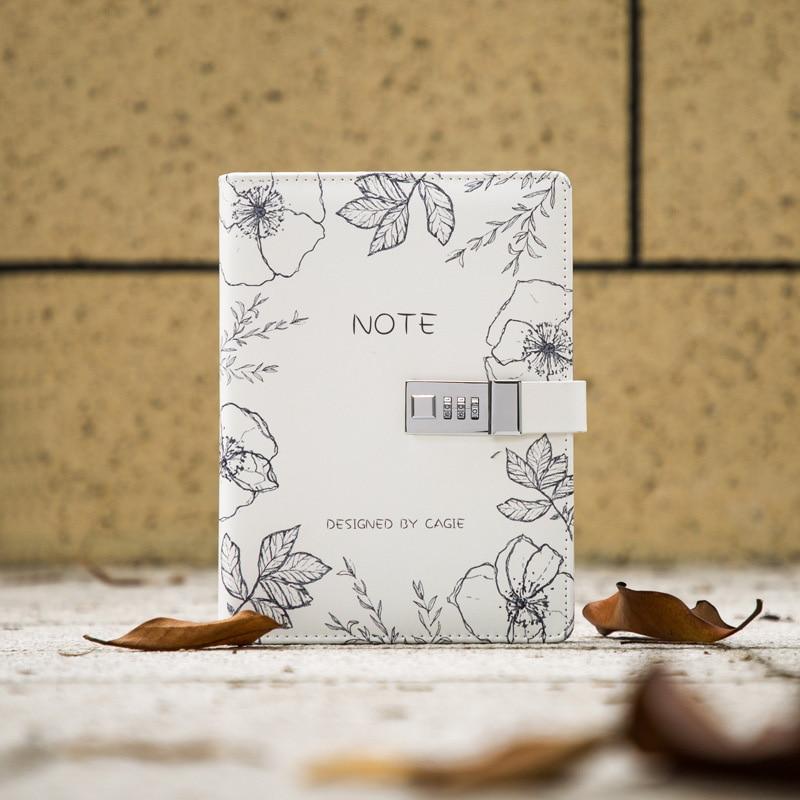A5 Notebook with Lock Binder Notepad Spiral Journal 6 Rings Diary Note Book Line Gird Agenda Daily Planner Organizer Handbook