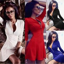 Hot Sale V Collar Shirt Dresses Women Zipper Slim Waist Lacing 3/4 Sleeve Breathable Dresses Straight Casual Pocket A-line Dress