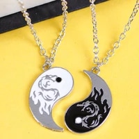 dragon tai chi couple necklaces for women men lovers best friends vintage yin yang pendant necklace jewelry accessories gifts