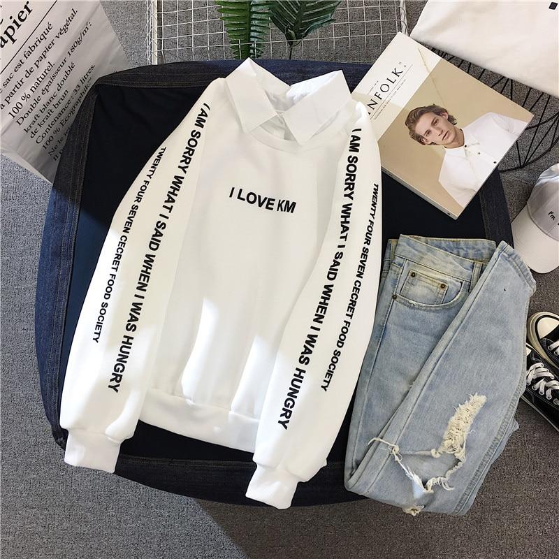 4 tamaños M-XXL suéter Delgado mujeres de moda Patchwork POLO Collar sudadera Kpop letra imprimir moda 90s Tops otoño gran oferta