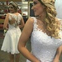 elegant sleeveless short wedding dresses knee length tank bridal gowns beaded gown appliqued bride dress vestido de noiva