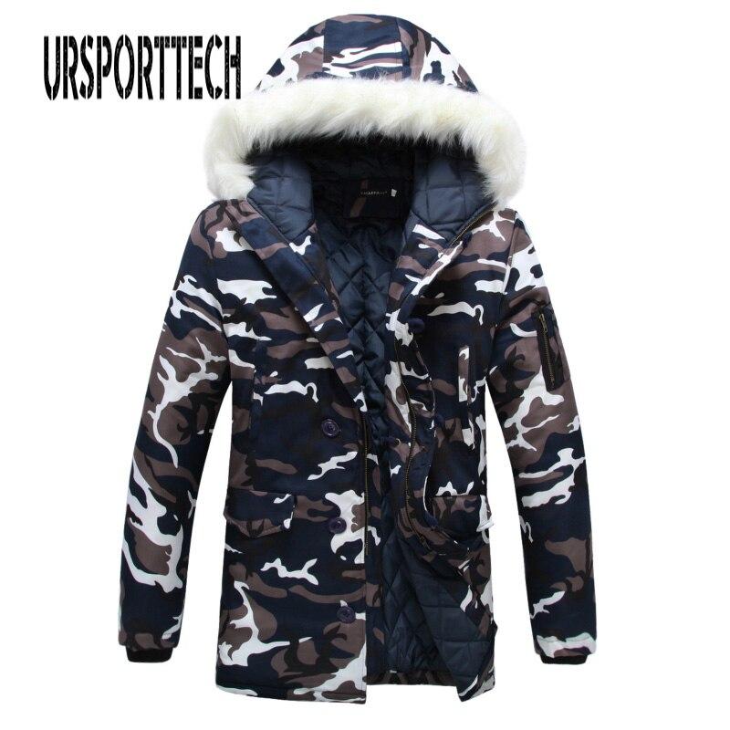 Камуфляжная парка, мужская зимняя куртка с большим меховым воротником, модное длинное пальто среднего размера плюс, зимнее пальто, Мужская ...