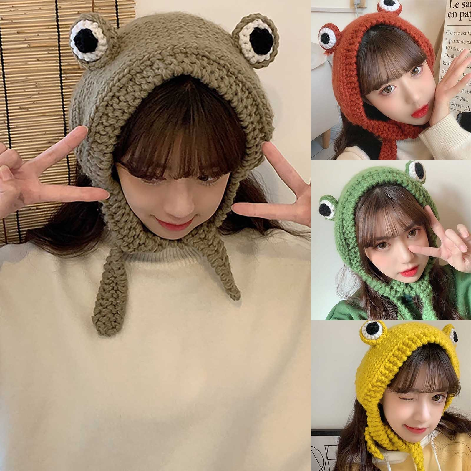 Frog Hat Beanies Knitted Winter Hat Solid Hip-hop Skullies Knitted Hat Cap Costume Accessory Gifts W