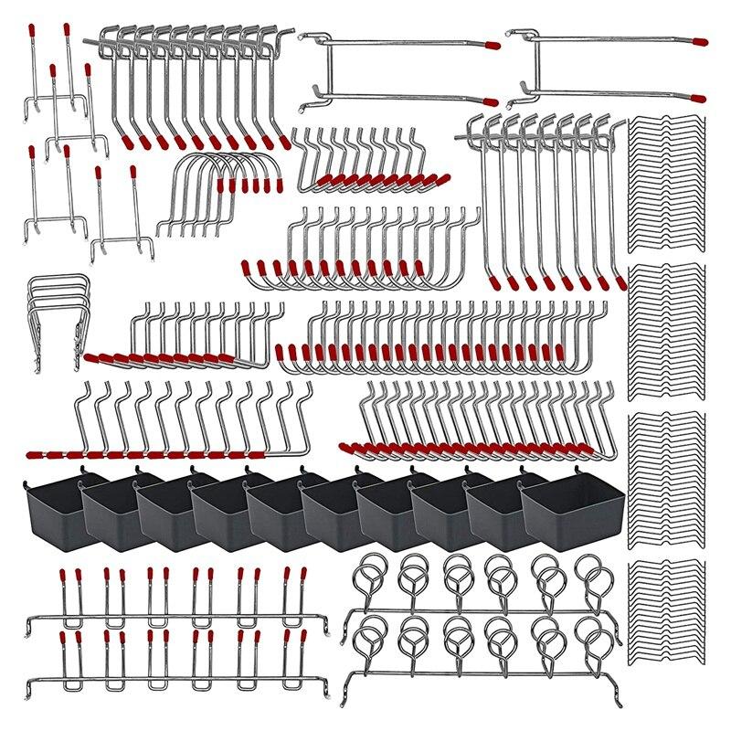 228 قطعة خطاطيف الحوائط المثقوبة تشكيلة مع مجموعات خطافات معدنية ، صناديق Pegboard ، أقفال ربط لتنظيم أدوات نظام التخزين