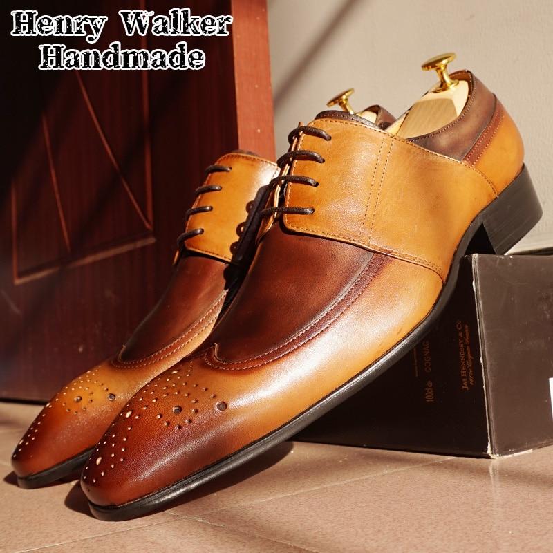 الايطالية الرجال أكسفورد أحذية جلد طبيعي الدانتيل يصل مزيج اللون الأسود براون الرجال فستان أحذية مكتب الأعمال الزفاف الرسمي أحذية الرجال