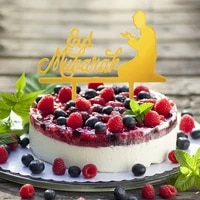 eid mubarak cake topper black gold letter moon cupcake topper muslim ramadan baking decor