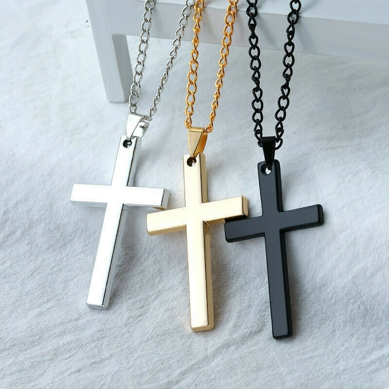 Fashion Stainless Steel Cross Gold Silver Color Necklace for Women Men Vintage Chain Crystal Pendant Long Necklaces Jewelry New welly merck silver stainless steel for men
