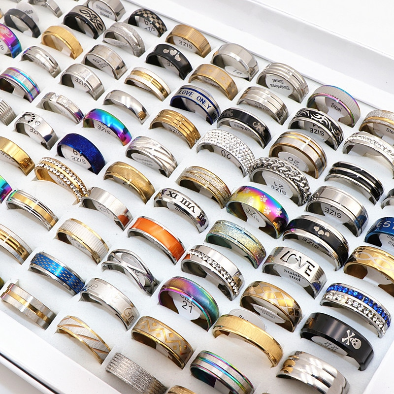 MixMax 500pcs/Lot Stainless Steel Rings Men's Women's Fashion Jewelry Party Ring Mix Styles Wholesale Brand New
