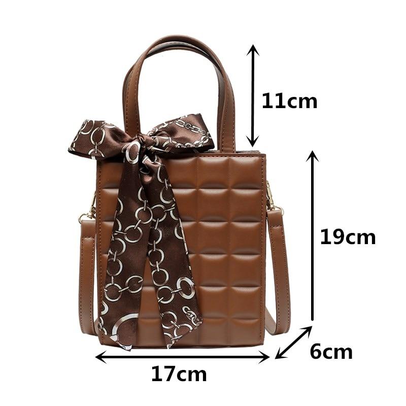 Women's Plaid Handbag Quality Pu Leather Tote Bags Female Black Small Square Shoulder Crossbody Bag with Scarves Bolsa Feminina