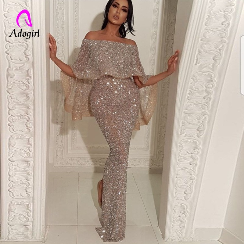 AliExpress - Shiny Elegant Sequin Off Shoulder Bodycon Evening Gown High Waist Zipper Back Solid 2019 Autumn Ruffles Sleeve Women Party Dress